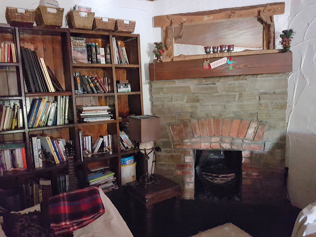 Books on shelves by fireplace.
