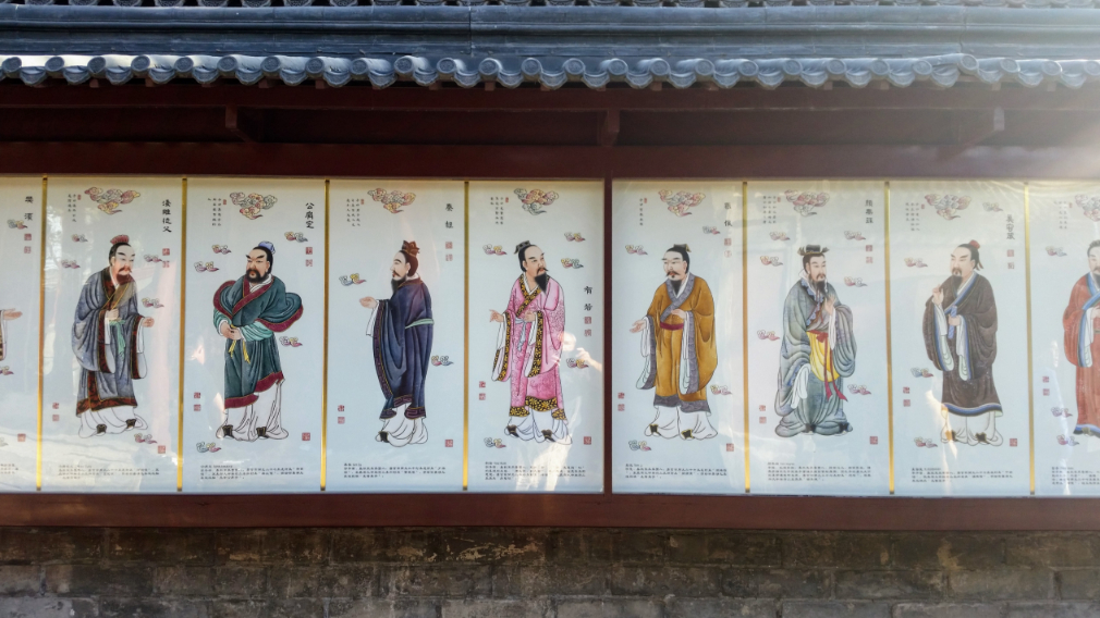 Painted portraits of Chinese philosophers at Confucius Temple Beijing