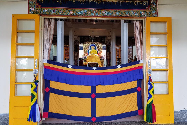 Photo looking into the Shrine Room at HH Dalai Lama Temple, Dharamsala, India