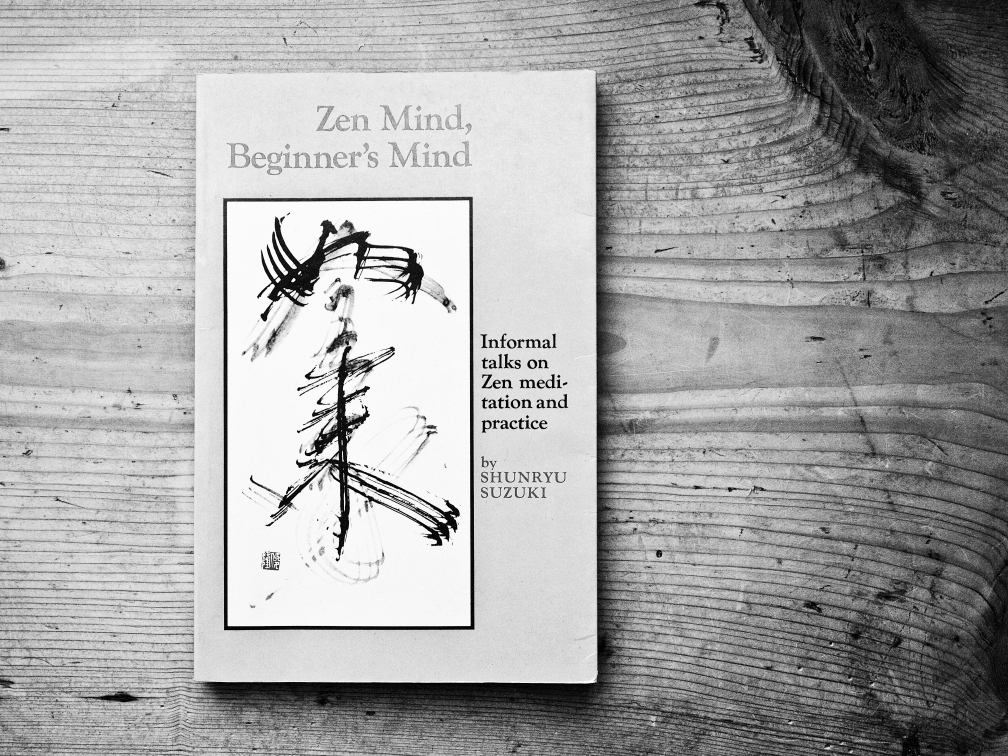 Black & white photo of the book cover 'Zen Mind, Beginner's Mind'