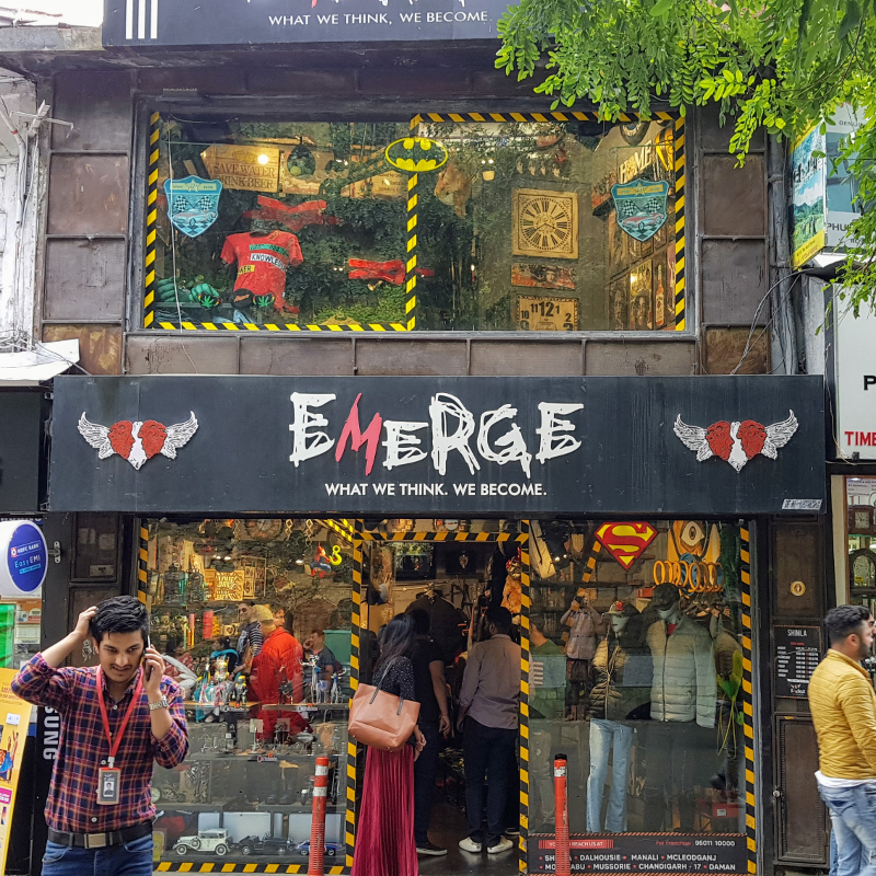 """Shopfront with name """"What we think, we become"""" (taken in Shimla, HP, India)"""
