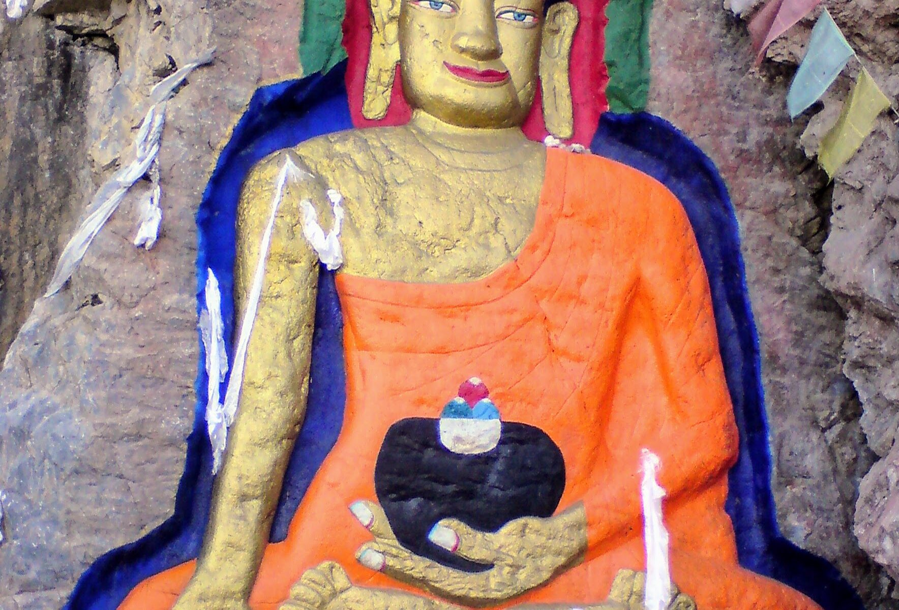 Painted Buddha Carving at Nyethang Drolma Temple, Lhasa, Tibet