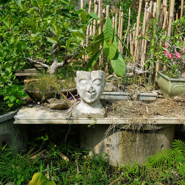 Imperfect Buddha bust on bench.