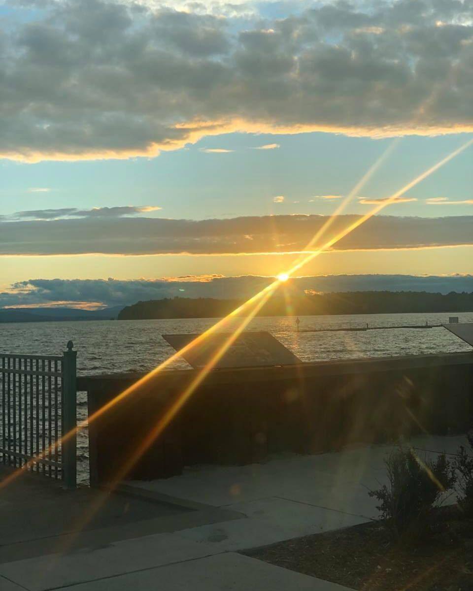 Photograph of sunset at Lake Champlain, Vermont, USA