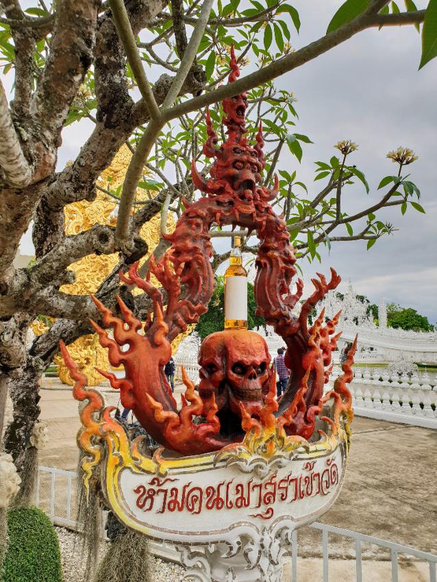 Whiskey Bottle Balanced on sculpture of Skull