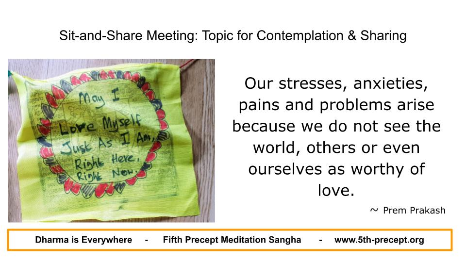 Prayer flag with handwritten message: 'May I Love Myself Just As I Am Right Here, Right Now'