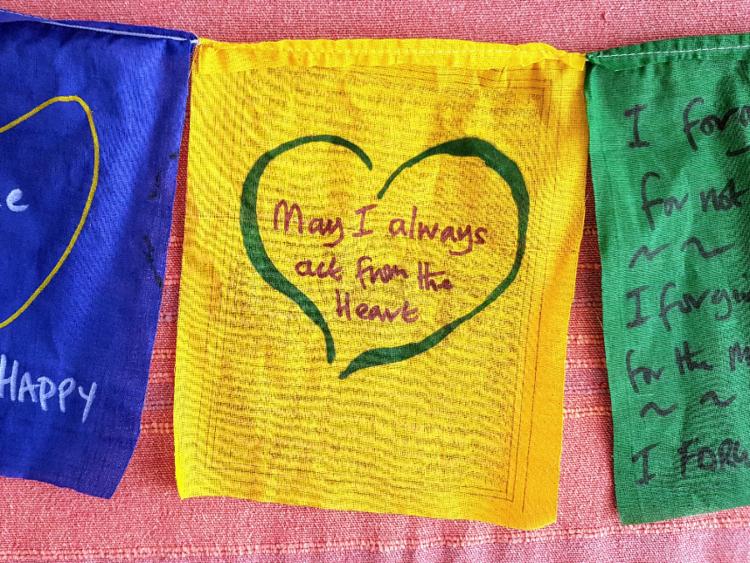 Hand Drawn Heart on Prayer Flag