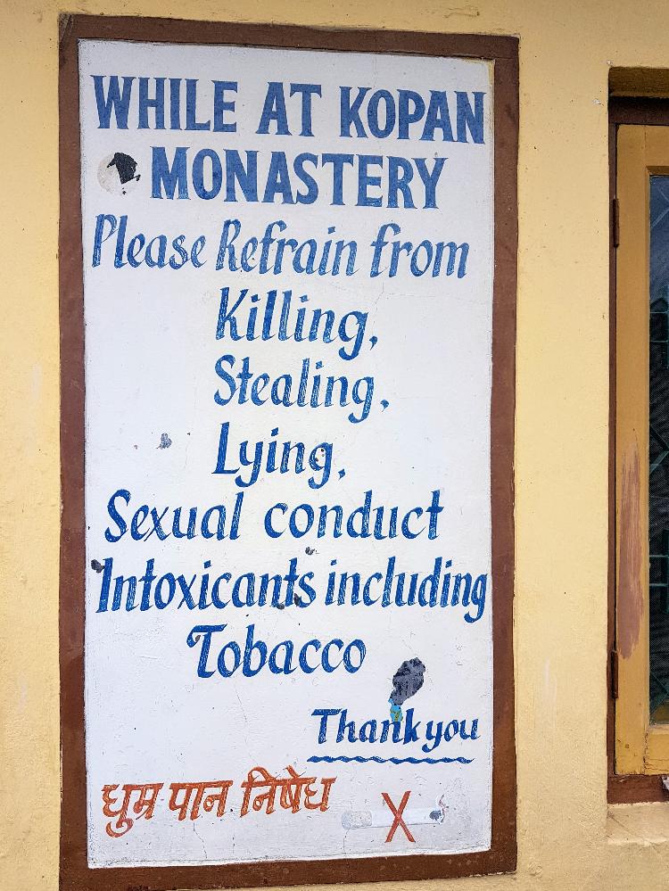 "Image – ""Handwritten Sign Listing the Five Universal Precepts"" - Kopan Monastery, Kathmandu, Nepal - June 2017"