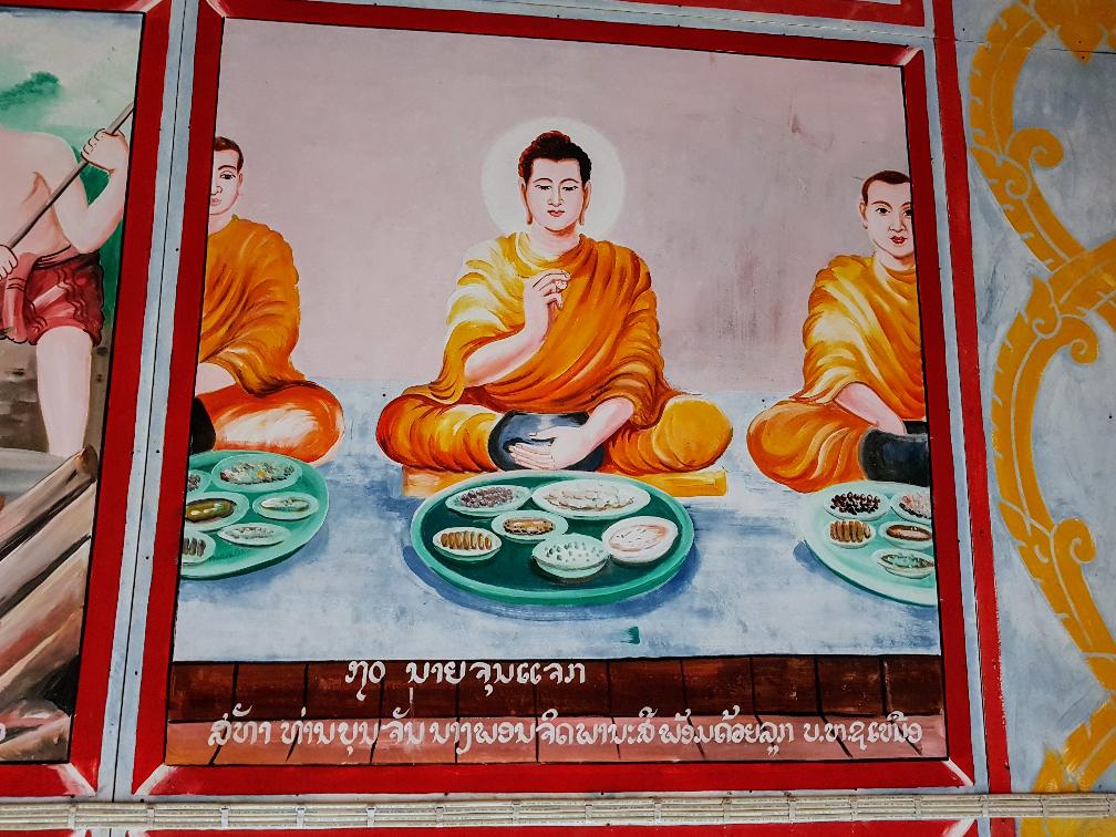 """Image – """"Fresco of Buddha"""" - Wat Chomkao Manylath, Huay Xai, Laos - August 2017"""